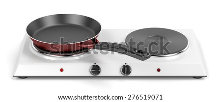 Double hot plate and frying pan on white background - stock photo
