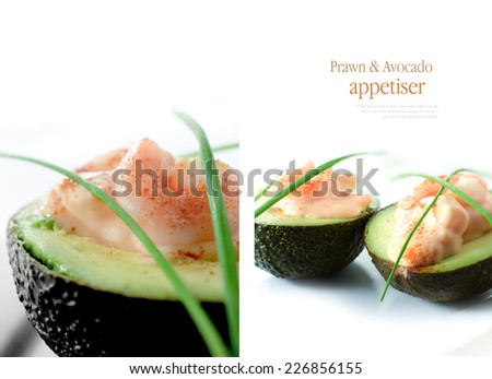 Double image of avocado and prawn appetisers, one macro and one standard view. Copy space. - stock photo