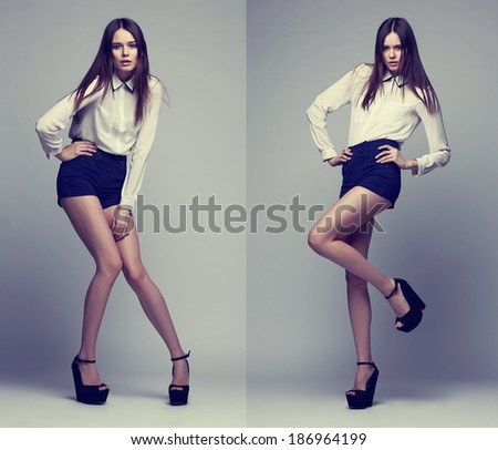 double image of the same fashion model in different poses. Studio shot - stock photo