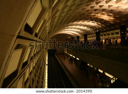 double level Washington Metro station with train - stock photo
