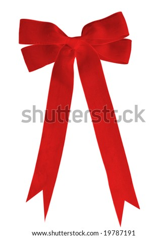 Double loops ribbon bow isolated on white - stock photo