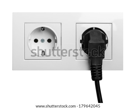 double power European electric plug isolated on a white - stock photo