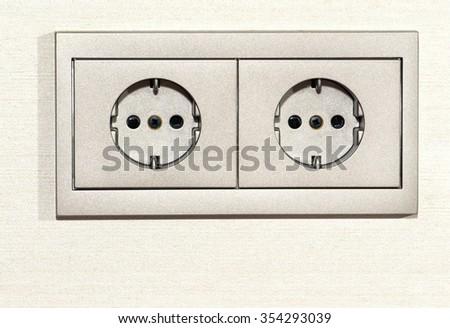 double power socket, closeup - stock photo