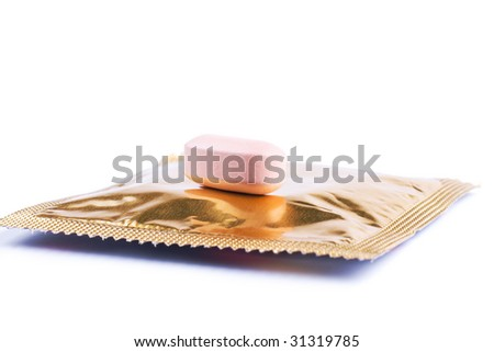 Double protection: two contraceptive methods concept isolated - stock photo