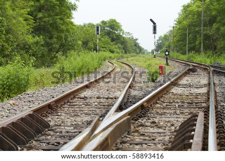 Double rail track in Saraburi province of Thailand. - stock photo