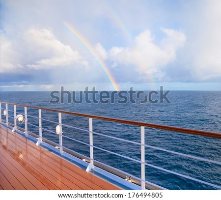 Double Rainbow from cruise ship  - stock photo