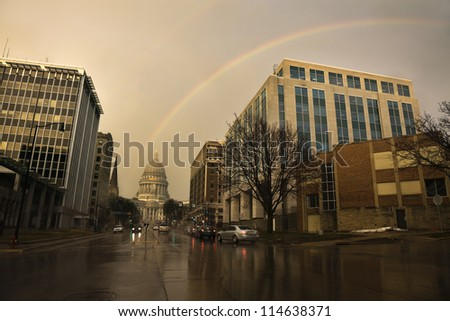 Double rainbow over State Capitol Building in Madison, Wisconsin - stock photo