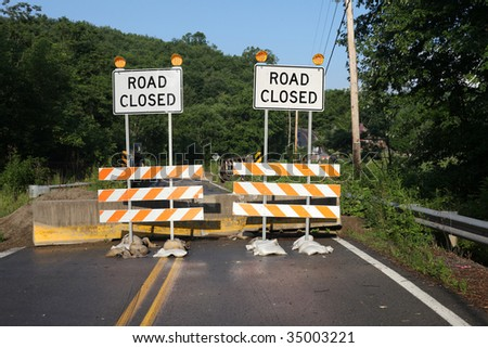 Double Road Closed Sign - stock photo