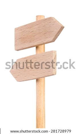 Double road sign signpost wood - stock photo
