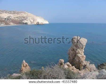 Double rock on the beach in Cyprus near Aphrodite's birthplace - stock photo