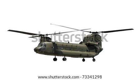 double rotor military helicopter isolated on white - stock photo