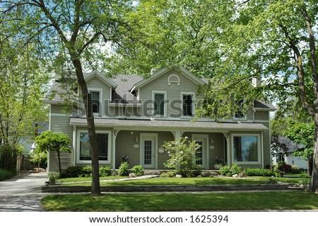 Red Brick House Black Shutters Pretty Stock Photo 1611186