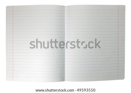 Double sheet of open seamless lined note paper spread background texture, isolated - stock photo
