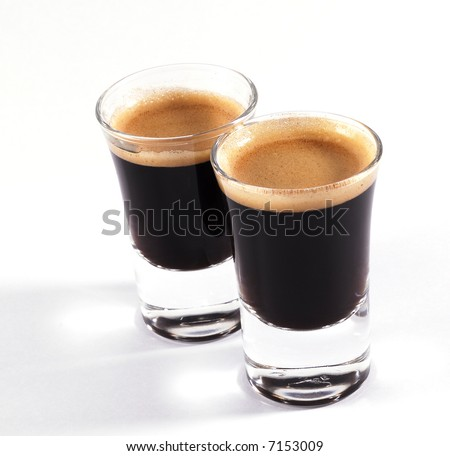 double shots of espresso on classy shot glasses - stock photo