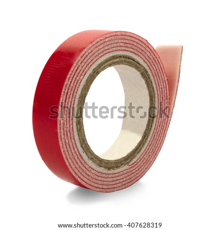 double-sided adhesive tape coiled in a roll on a white background