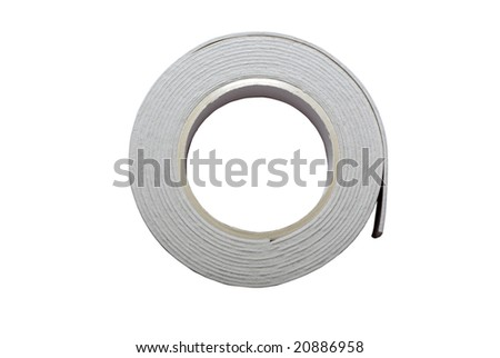 Double sided sticky tape reel isolated on white background.