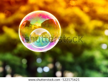double soap bubble in the air