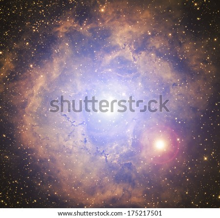 Double star-system with a background space nebulosity. - stock photo