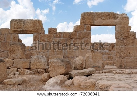 Double stone entrance to ruined ancient synagogue - stock photo