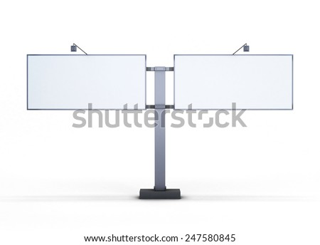 Double street billboard front view isolated on white background. - stock photo