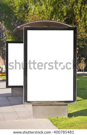 Double street billboard in bus stop - stock photo