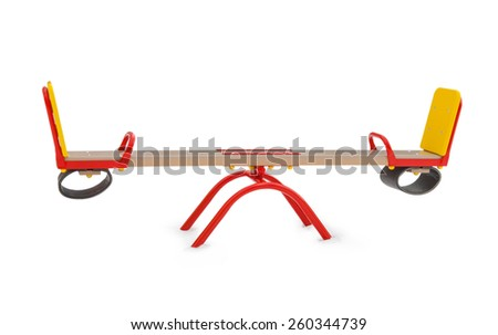 Double swing for children on playground closeup - stock photo