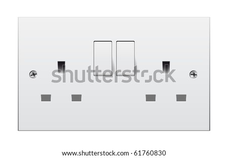 Double switch socket with clipping path isolated on white background - stock photo