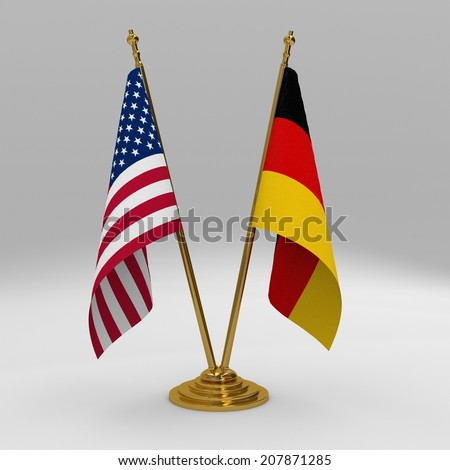 Double table flag, partnership united states of america and germany - stock photo