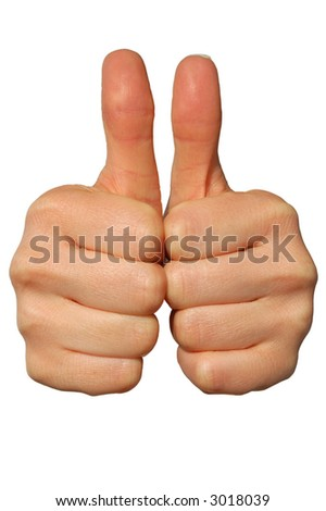 Double Thumbs Up! Isolated on white Background. - stock photo