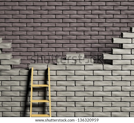 Double wall, Representation of dead end - stock photo