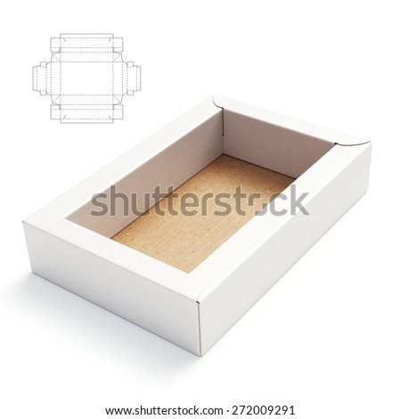 paper food tray template - double wall tray box with die cut template stock photo