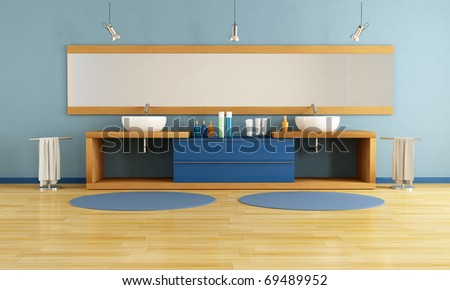 double washstand in a modern bathroom - rendering - stock photo
