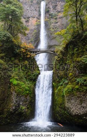 Double Waterfall with Bridge at Columbia, Columbia Gorge - stock photo