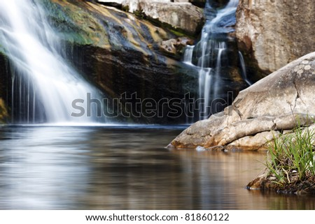 double waterfalls - stock photo
