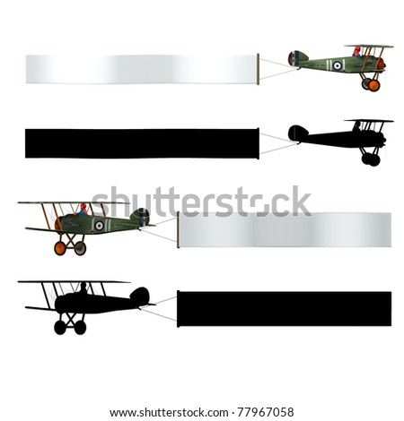 Double wing Airplane pulling a advertising banner. Isolated cutout on clean white background. Sky banner is ready for your text. Illustration with four different views. - stock photo