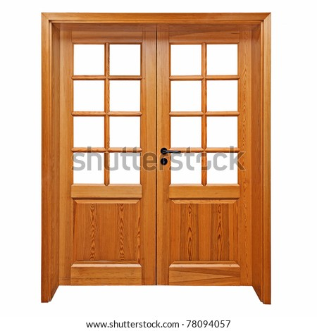 Double wooden doors isolated on white.  sc 1 st  Shutterstock & Double Wooden Doors Isolated On White Stock Photo 78094057 ...