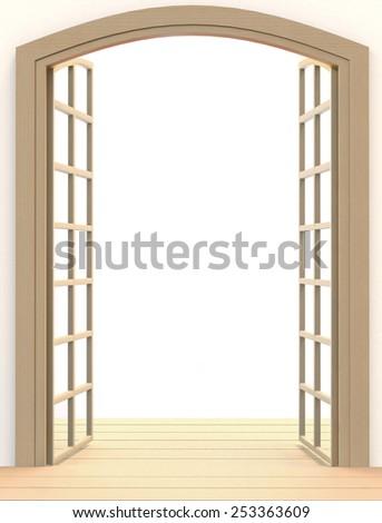 Double wooden open doors - stock photo