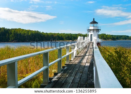 Doubling Point Range light was built along a sharp bend in the Kennebec River in Maine to protect shipping traffic. - stock photo