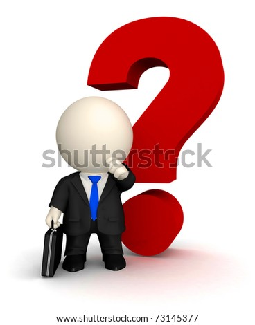Doubtful business man in 3D with a question mark - isolated on white - stock photo