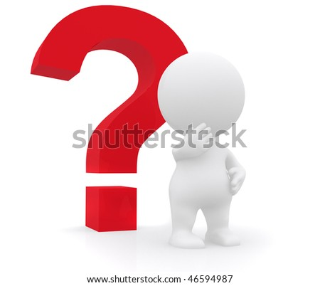 Doubtful 3D man with a question mark - isolated on white - stock photo