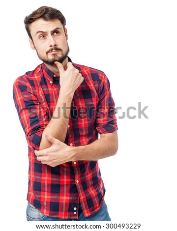 doubting young man thinking - stock photo