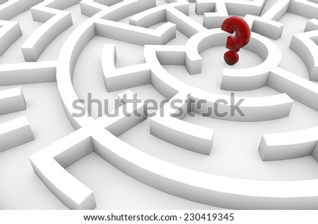 doubts concept: question mark in the middle of a maze