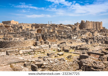 Dougga, Roman Ruins: A Unesco World Heritage Site in Tunisia - stock photo