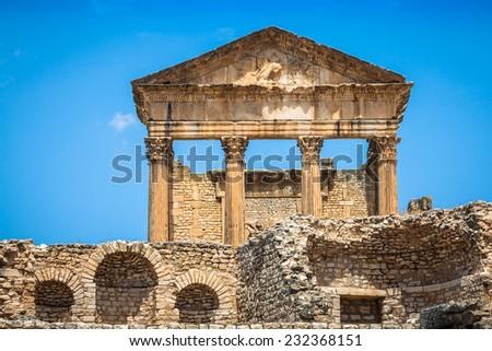 Dougga, Roman Ruins: A Unesco World Heritage Site in Tunisia - stock photo