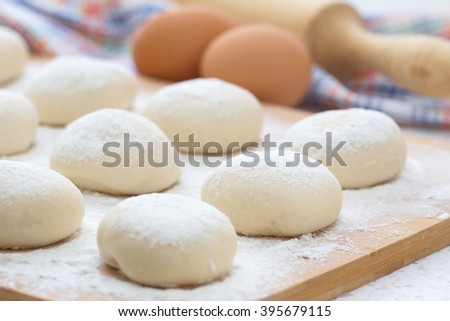 Dough balls made for cooking pastries - stock photo