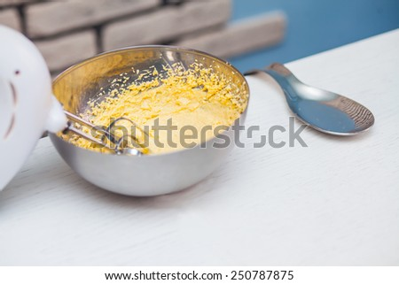 Dough mixer whipped in kitchen - stock photo