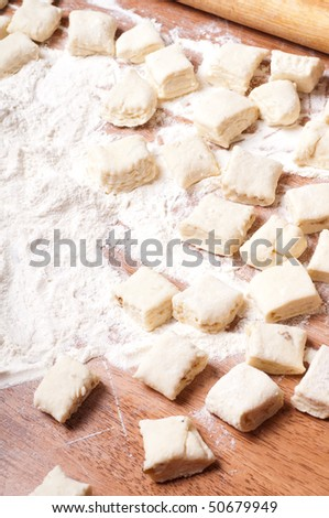 dough on a wooden board - stock photo