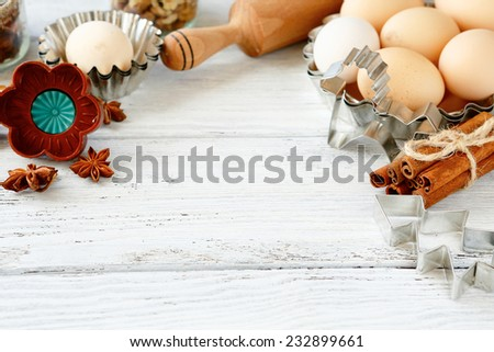 dough recipe ingredients on wooden table, baking christmas - stock photo