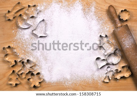 Dough tray with baking utensils - stock photo