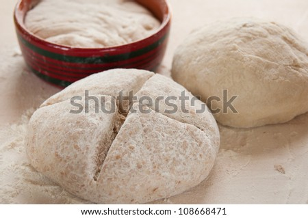 dough with sourdough - stock photo